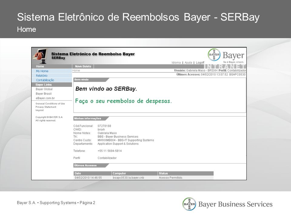 Sistema Eletrônico de Reembolsos Bayer - SERBay Home