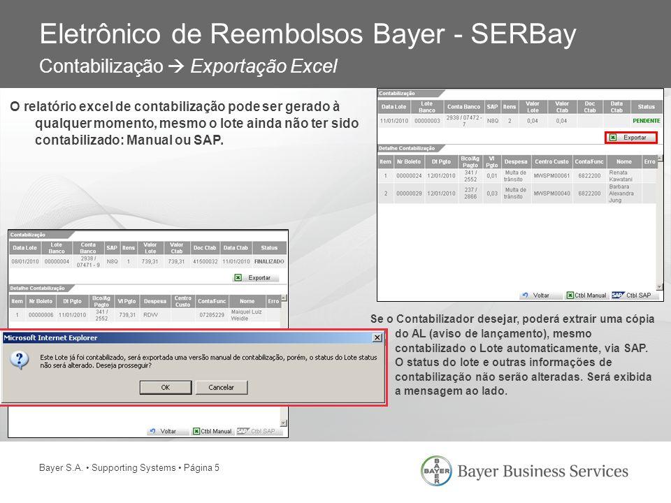Eletrônico de Reembolsos Bayer - SERBay Contabilização  Exportação Excel