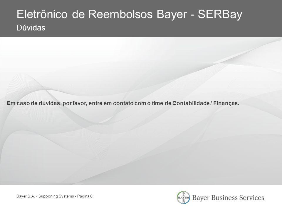 Eletrônico de Reembolsos Bayer - SERBay Dúvidas