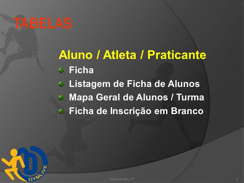 TABELAS Aluno / Atleta / Praticante Ficha Listagem de Ficha de Alunos