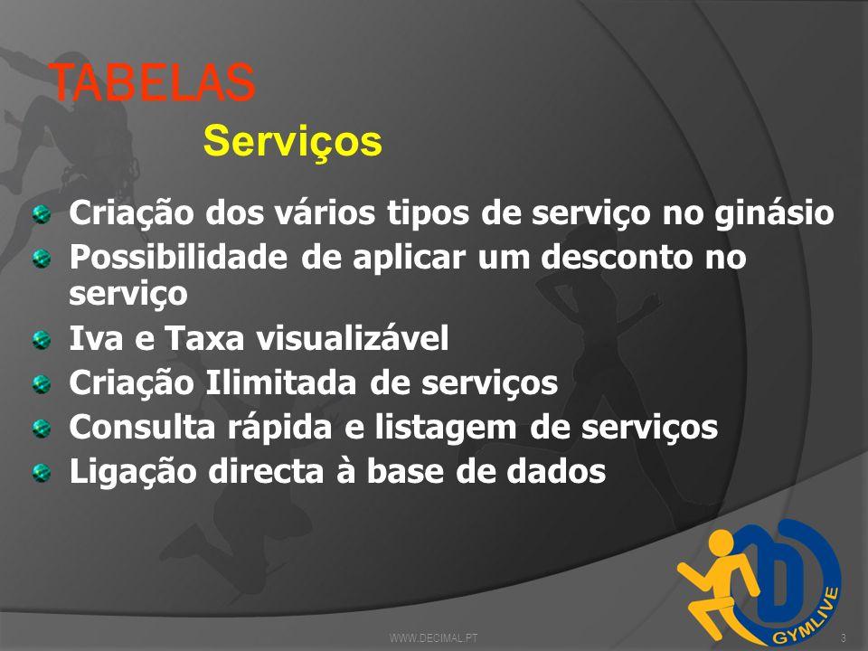 TABELAS Serviços Criação dos vários tipos de serviço no ginásio