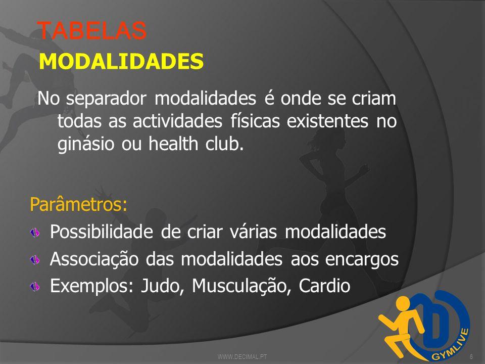 TABELAS MODALIDADES. No separador modalidades é onde se criam todas as actividades físicas existentes no ginásio ou health club.