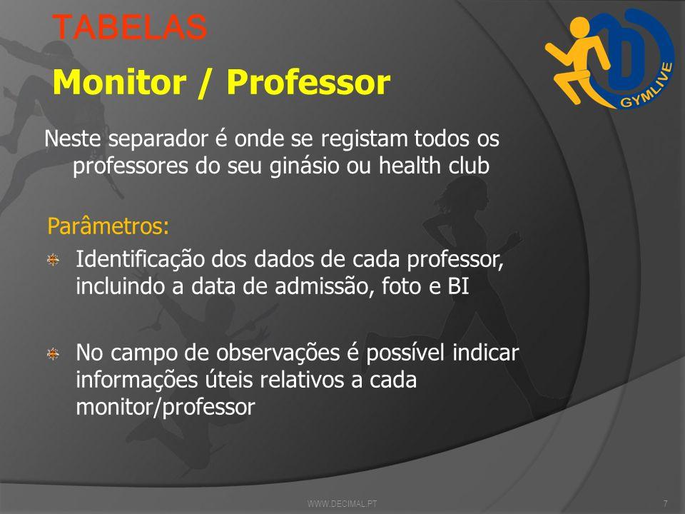 TABELAS Monitor / Professor
