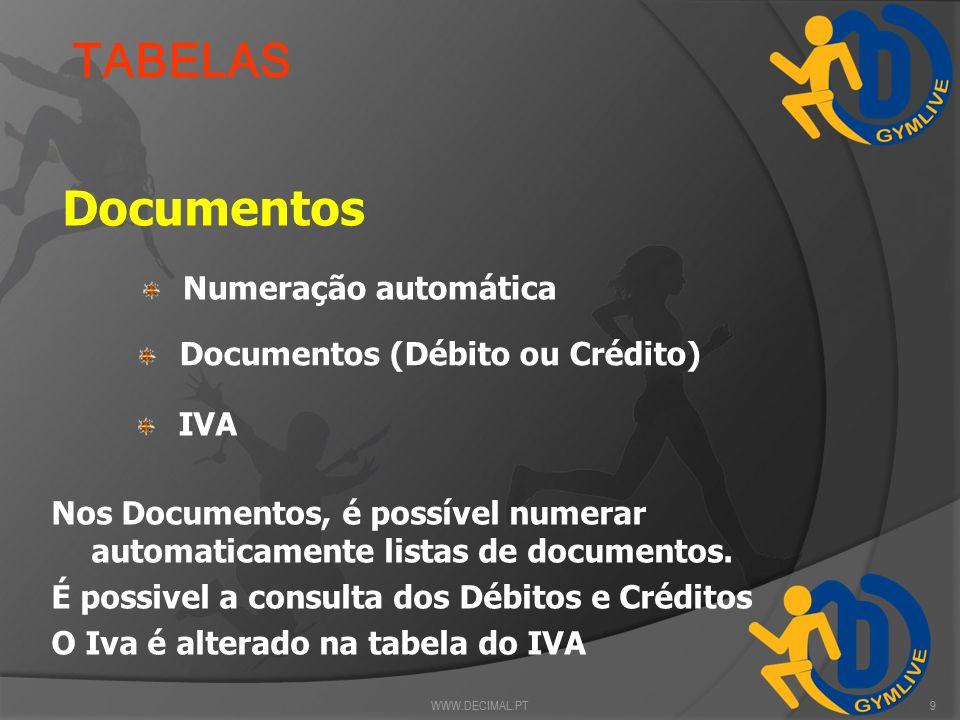 TABELAS Documentos Numeração automática Documentos (Débito ou Crédito)
