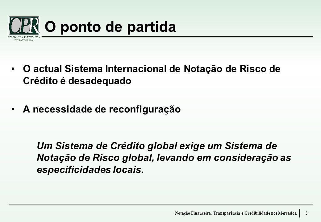 O ponto de partida O actual Sistema Internacional de Notação de Risco de Crédito é desadequado. A necessidade de reconfiguração.