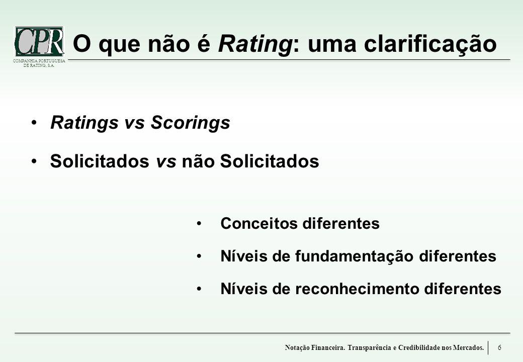 O que não é Rating: uma clarificação
