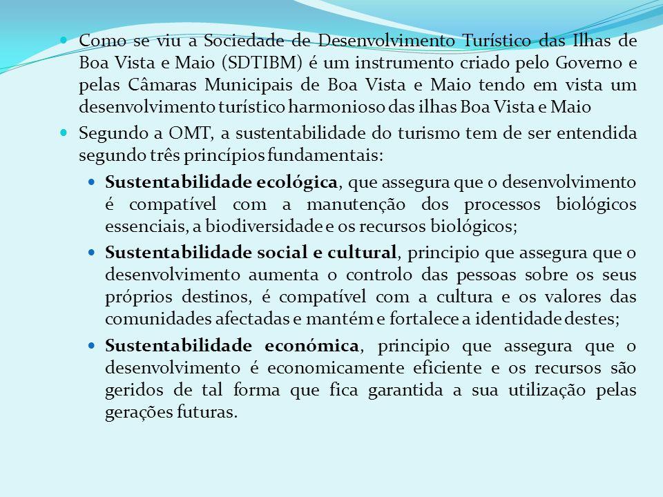 Como se viu a Sociedade de Desenvolvimento Turístico das Ilhas de Boa Vista e Maio (SDTIBM) é um instrumento criado pelo Governo e pelas Câmaras Municipais de Boa Vista e Maio tendo em vista um desenvolvimento turístico harmonioso das ilhas Boa Vista e Maio