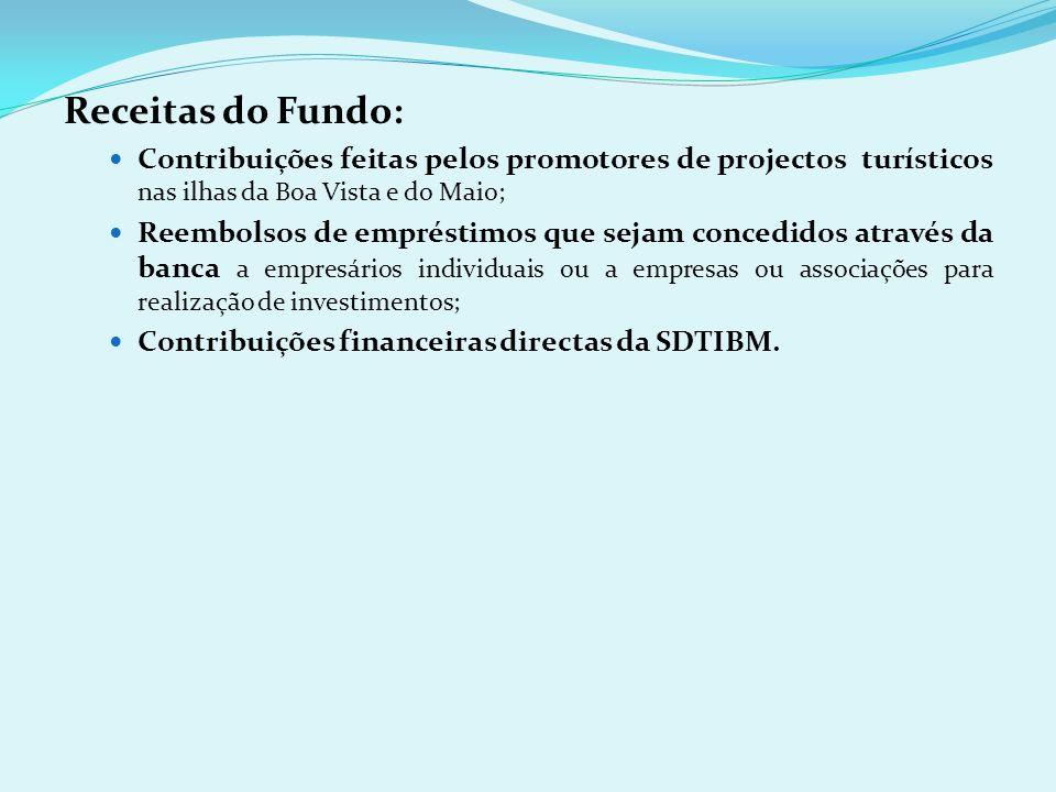 Receitas do Fundo: Contribuições feitas pelos promotores de projectos turísticos nas ilhas da Boa Vista e do Maio;
