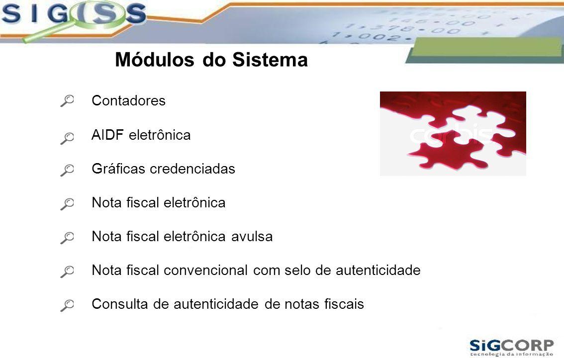 Módulos do Sistema Contadores AIDF eletrônica Gráficas credenciadas