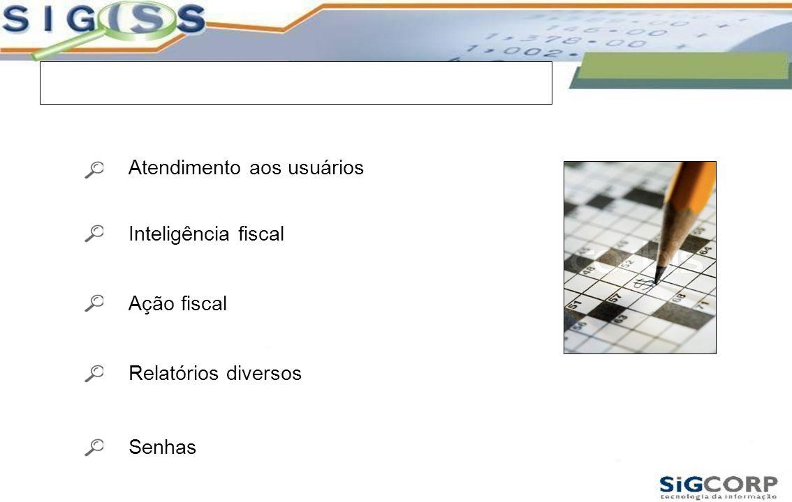Módulos do Sistema Atendimento aos usuários Inteligência fiscal