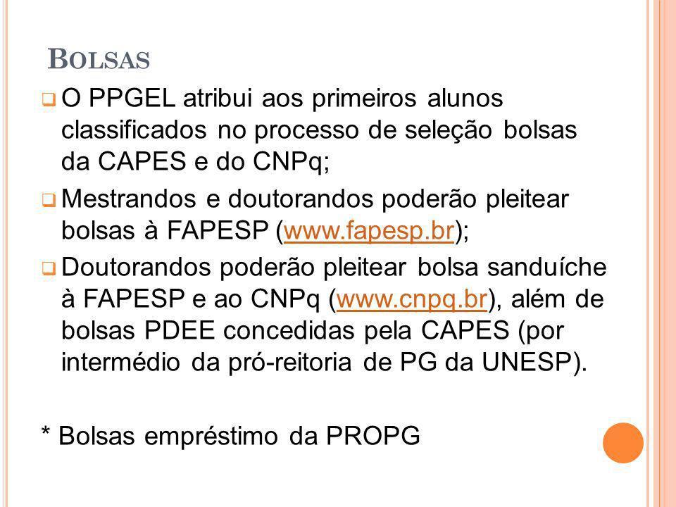 Bolsas O PPGEL atribui aos primeiros alunos classificados no processo de seleção bolsas da CAPES e do CNPq;