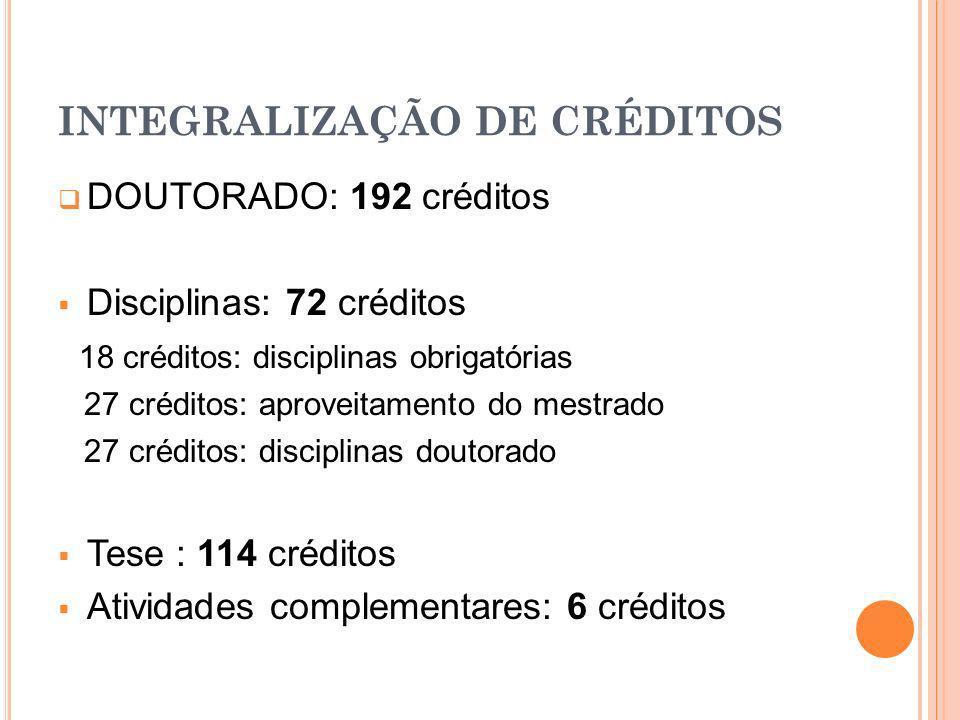 INTEGRALIZAÇÃO DE CRÉDITOS