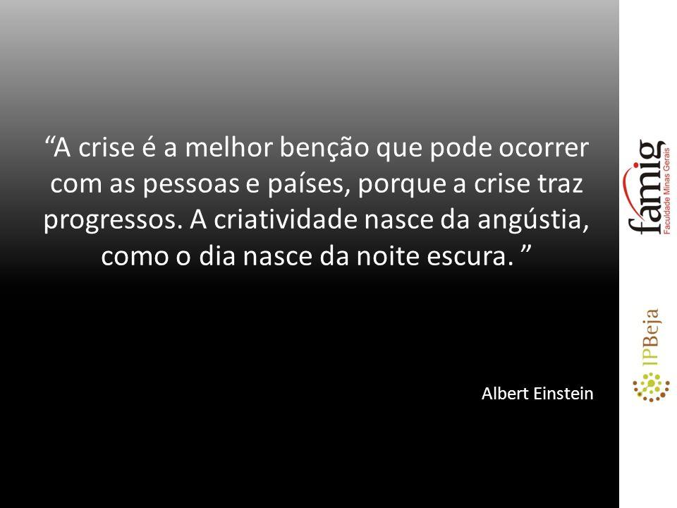 A crise é a melhor benção que pode ocorrer com as pessoas e países, porque a crise traz progressos. A criatividade nasce da angústia, como o dia nasce da noite escura.