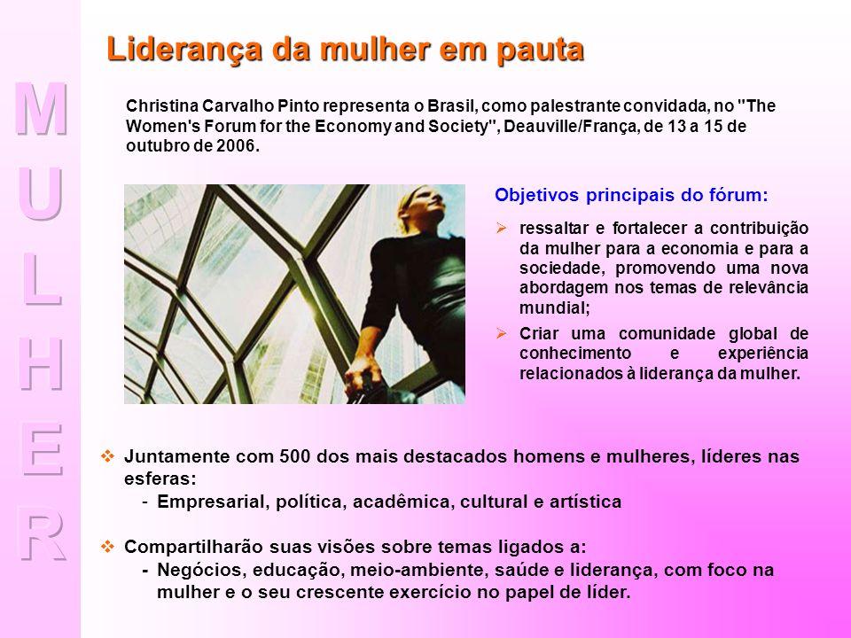 MU L HER Liderança da mulher em pauta Objetivos principais do fórum: