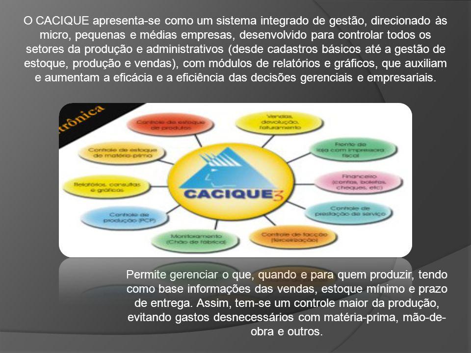 O CACIQUE apresenta-se como um sistema integrado de gestão, direcionado às micro, pequenas e médias empresas, desenvolvido para controlar todos os setores da produção e administrativos (desde cadastros básicos até a gestão de estoque, produção e vendas), com módulos de relatórios e gráficos, que auxiliam e aumentam a eficácia e a eficiência das decisões gerenciais e empresariais.