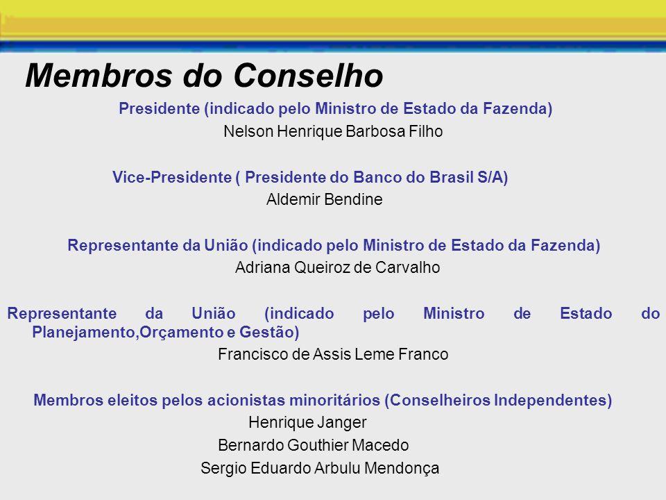 Membros do Conselho Presidente (indicado pelo Ministro de Estado da Fazenda) Nelson Henrique Barbosa Filho.