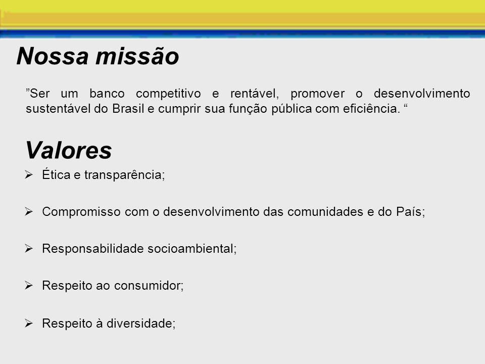 Nossa missão Ser um banco competitivo e rentável, promover o desenvolvimento sustentável do Brasil e cumprir sua função pública com eficiência.