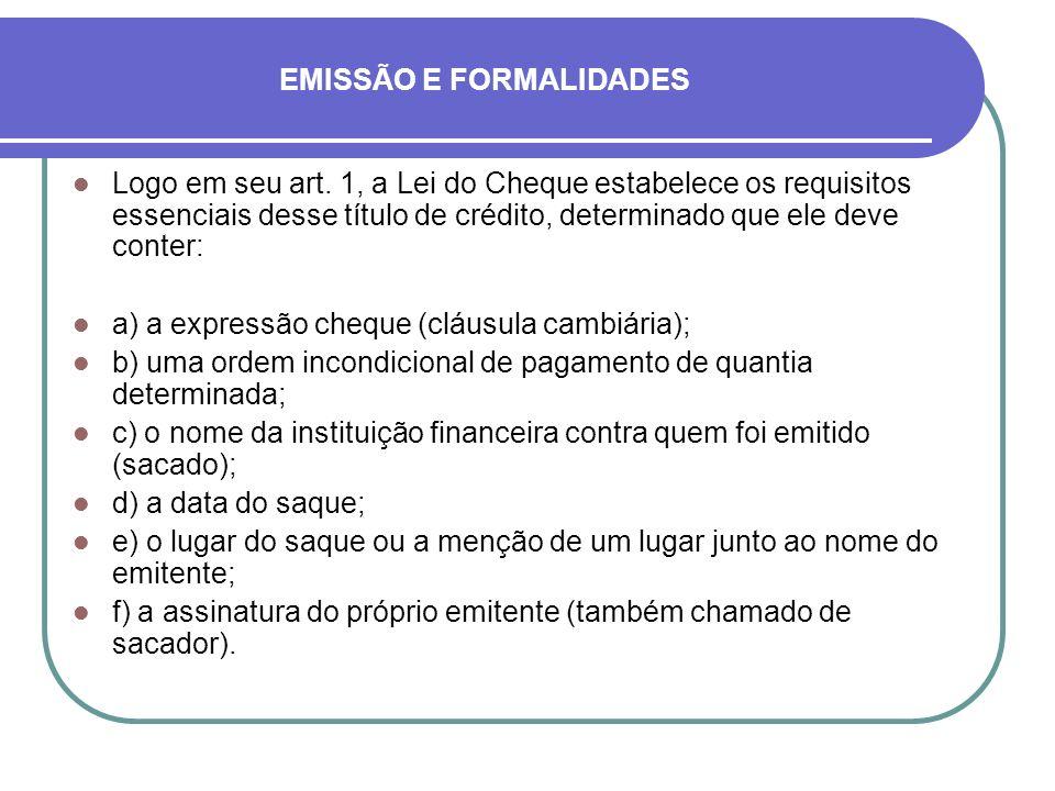 EMISSÃO E FORMALIDADES
