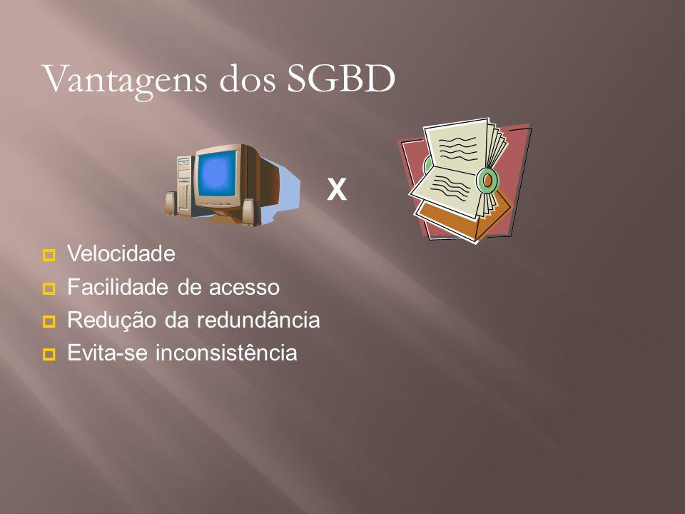Vantagens dos SGBD X Velocidade Facilidade de acesso