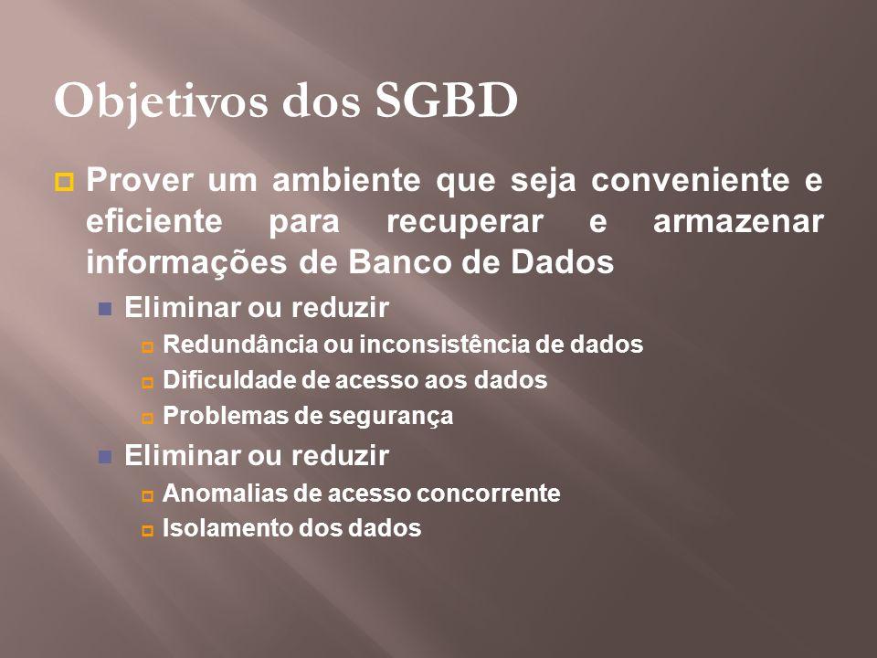 Objetivos dos SGBD Prover um ambiente que seja conveniente e eficiente para recuperar e armazenar informações de Banco de Dados.