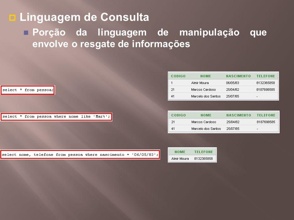 Linguagem de Consulta Porção da linguagem de manipulação que envolve o resgate de informações