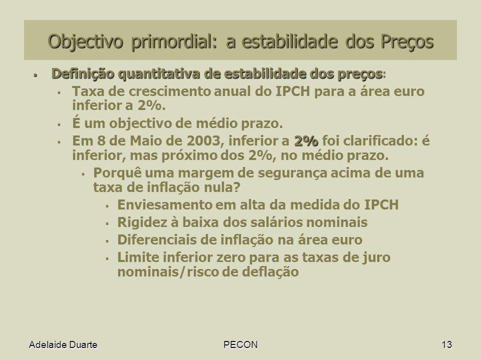 Objectivo primordial: a estabilidade dos Preços