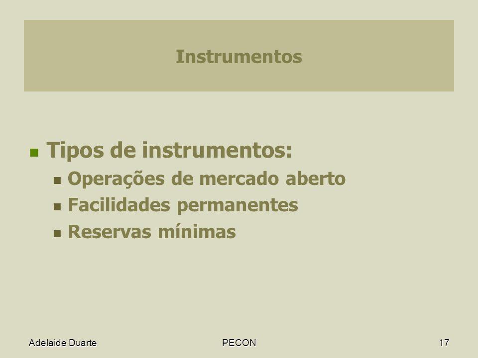 Tipos de instrumentos: