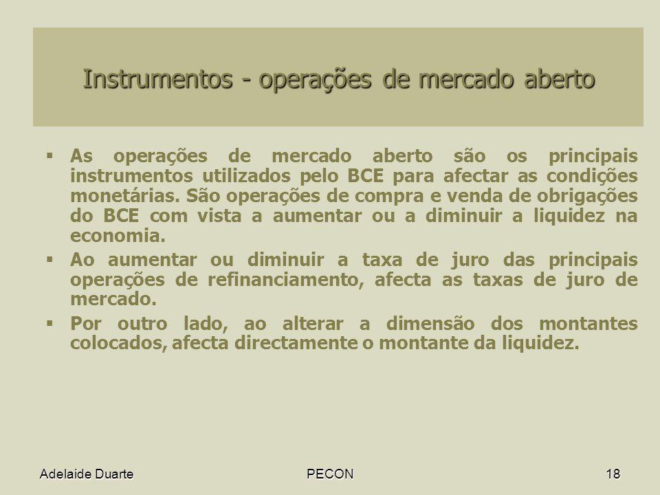 Instrumentos - operações de mercado aberto