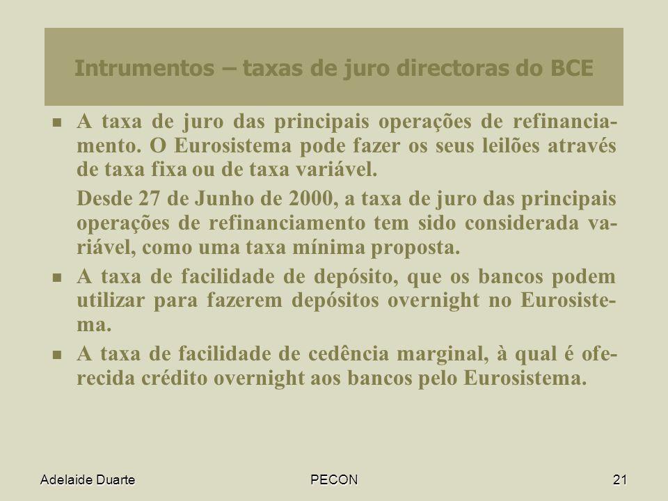 Intrumentos – taxas de juro directoras do BCE