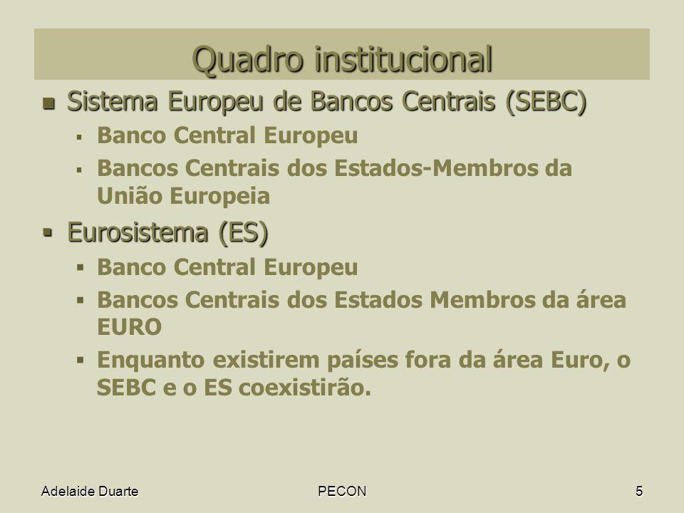 Quadro institucional Sistema Europeu de Bancos Centrais (SEBC)