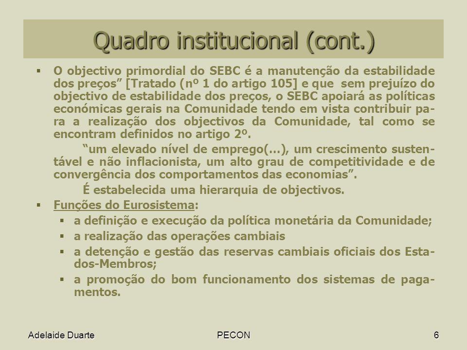 Quadro institucional (cont.)