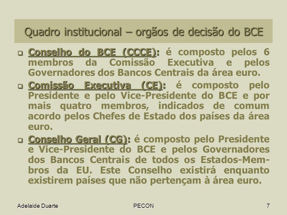 Quadro institucional – orgãos de decisão do BCE