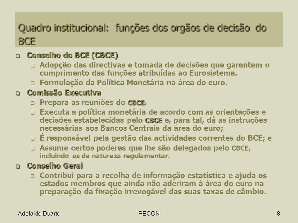 Quadro institucional: funções dos orgãos de decisão do BCE