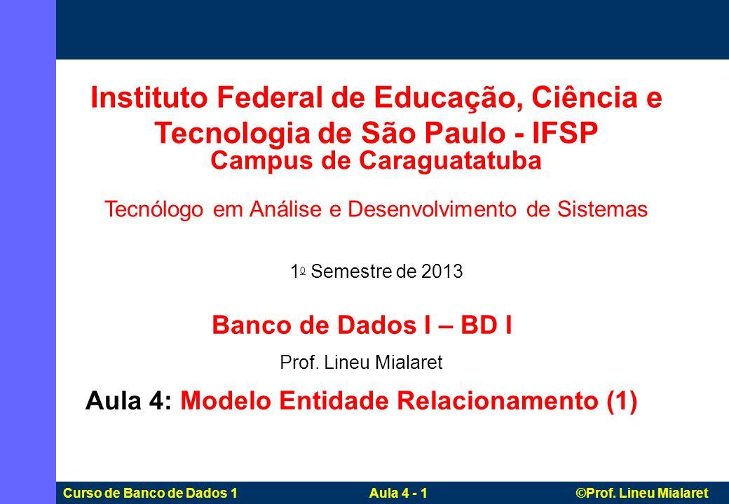 Campus de Caraguatatuba Aula 4: Modelo Entidade Relacionamento (1)