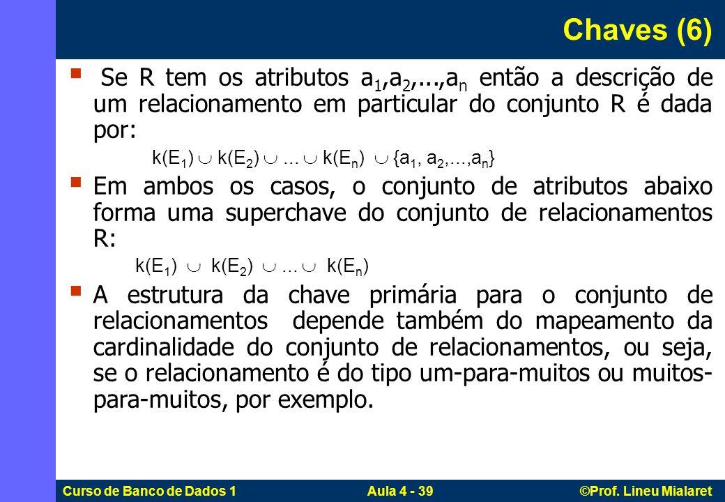 Chaves (6) Se R tem os atributos a1,a2,...,an então a descrição de um relacionamento em particular do conjunto R é dada por:
