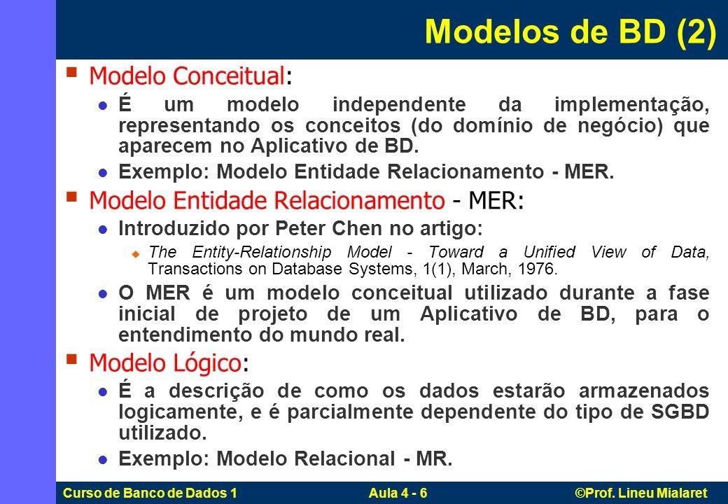 Modelos de BD (2) Modelo Conceitual:
