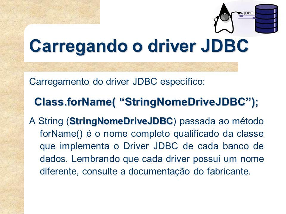 Carregando o driver JDBC