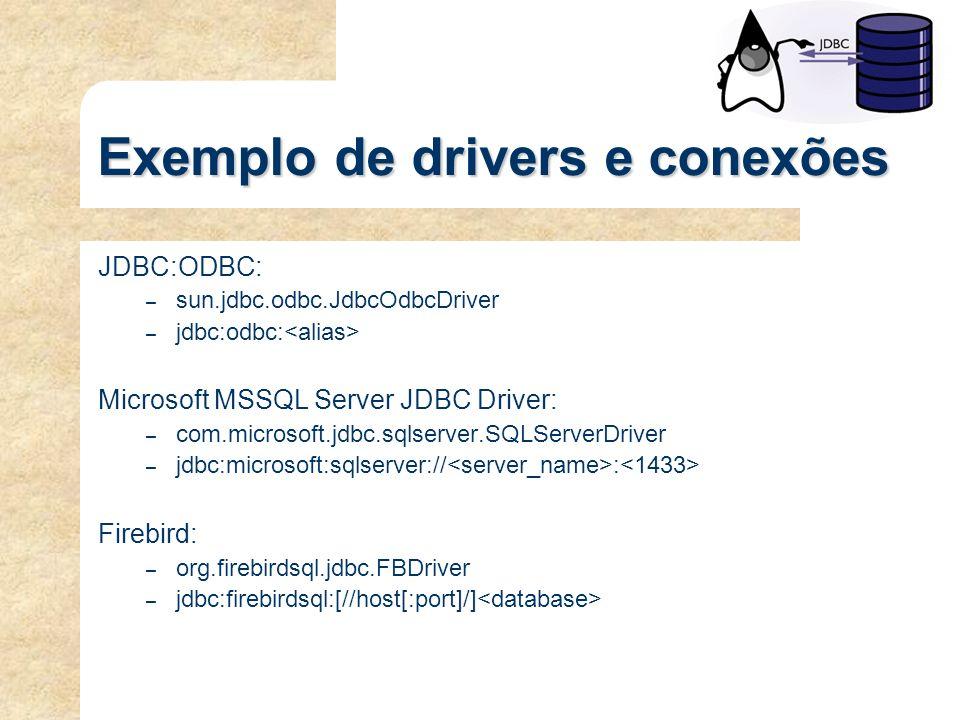 Exemplo de drivers e conexões
