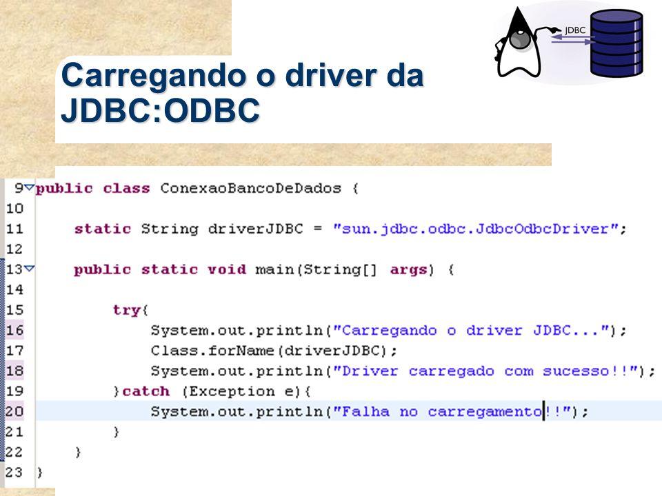 Carregando o driver da JDBC:ODBC