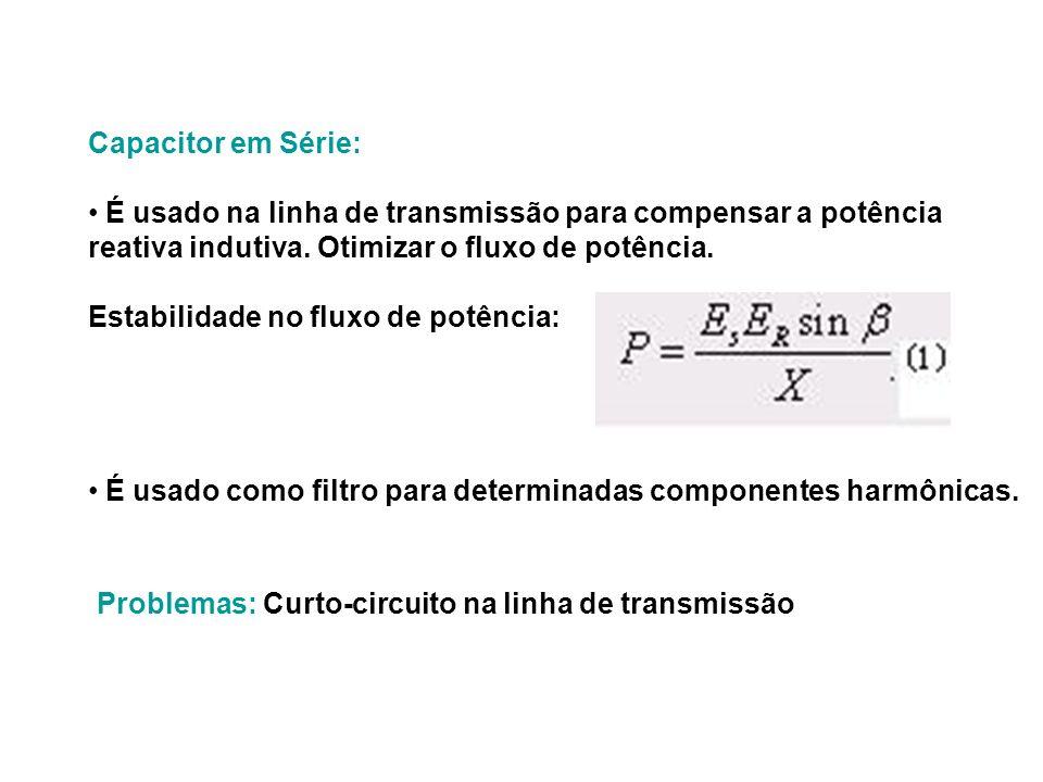 Capacitor em Série: É usado na linha de transmissão para compensar a potência. reativa indutiva. Otimizar o fluxo de potência.