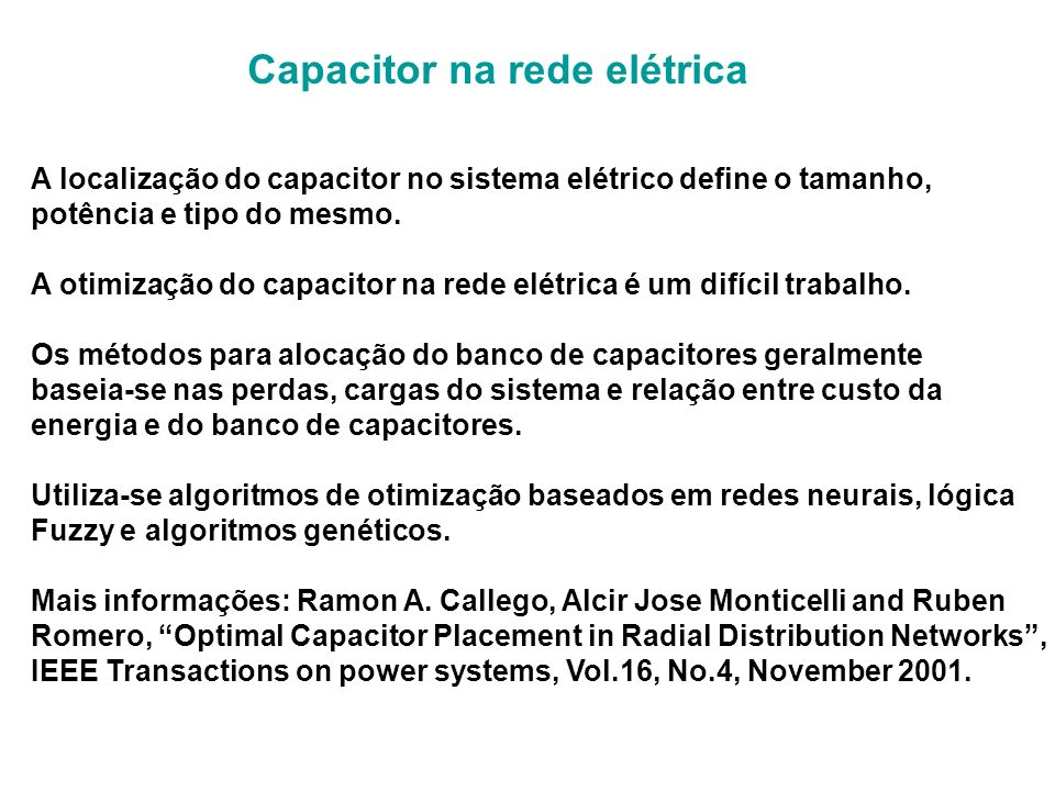 Capacitor na rede elétrica
