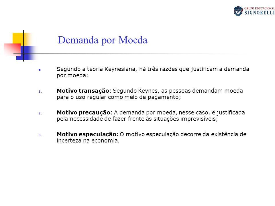 Demanda por Moeda Segundo a teoria Keynesiana, há três razões que justificam a demanda por moeda: