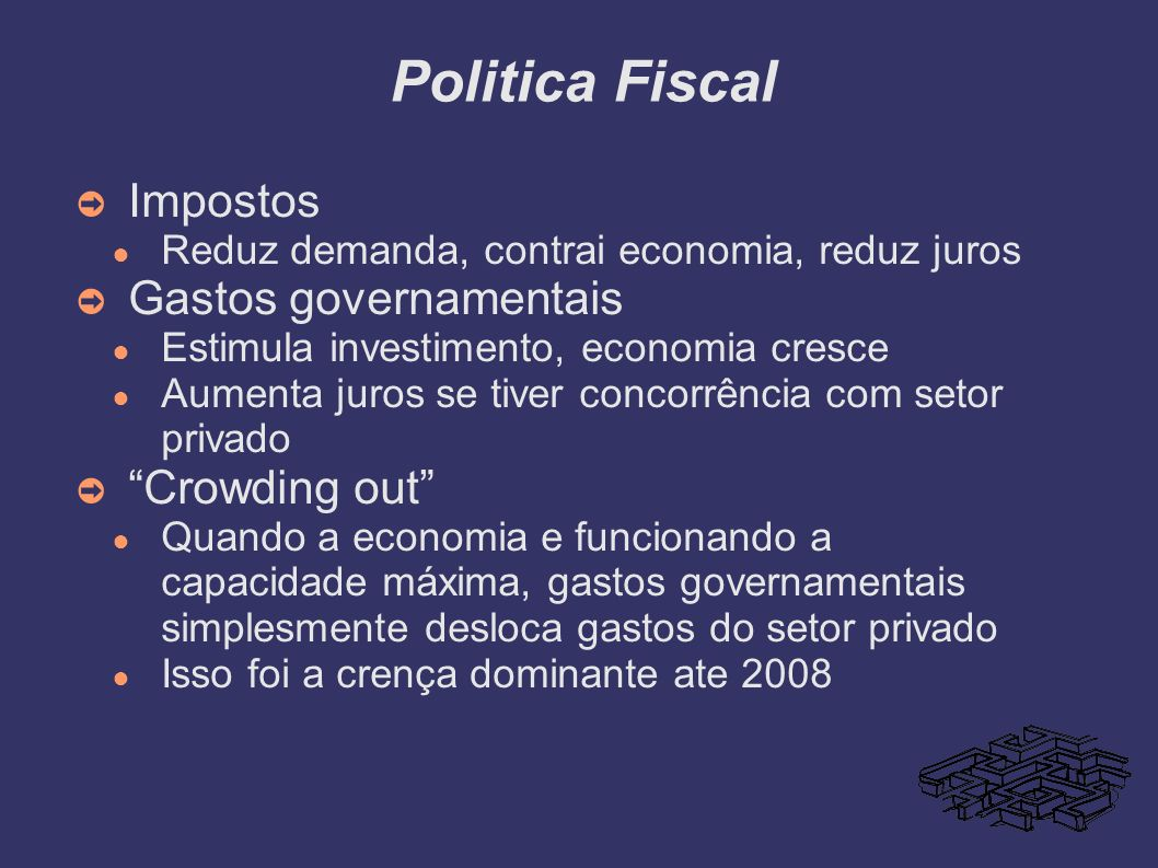 Politica Fiscal Impostos Gastos governamentais Crowding out