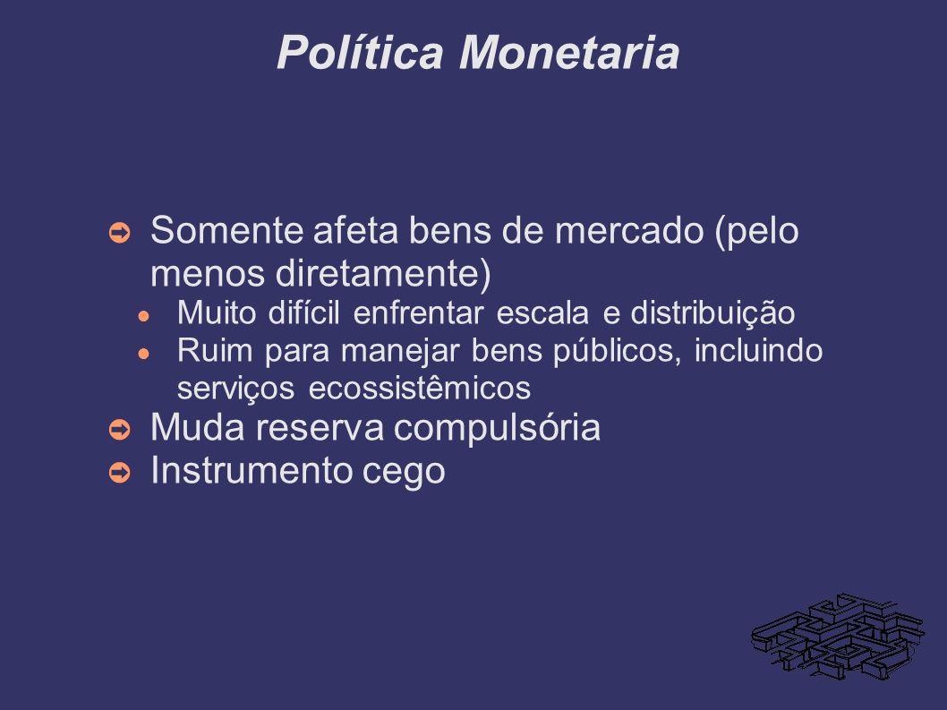 Política Monetaria Somente afeta bens de mercado (pelo menos diretamente) Muito difícil enfrentar escala e distribuição.