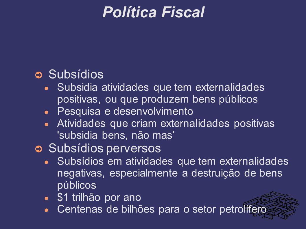 Política Fiscal Subsídios Subsídios perversos