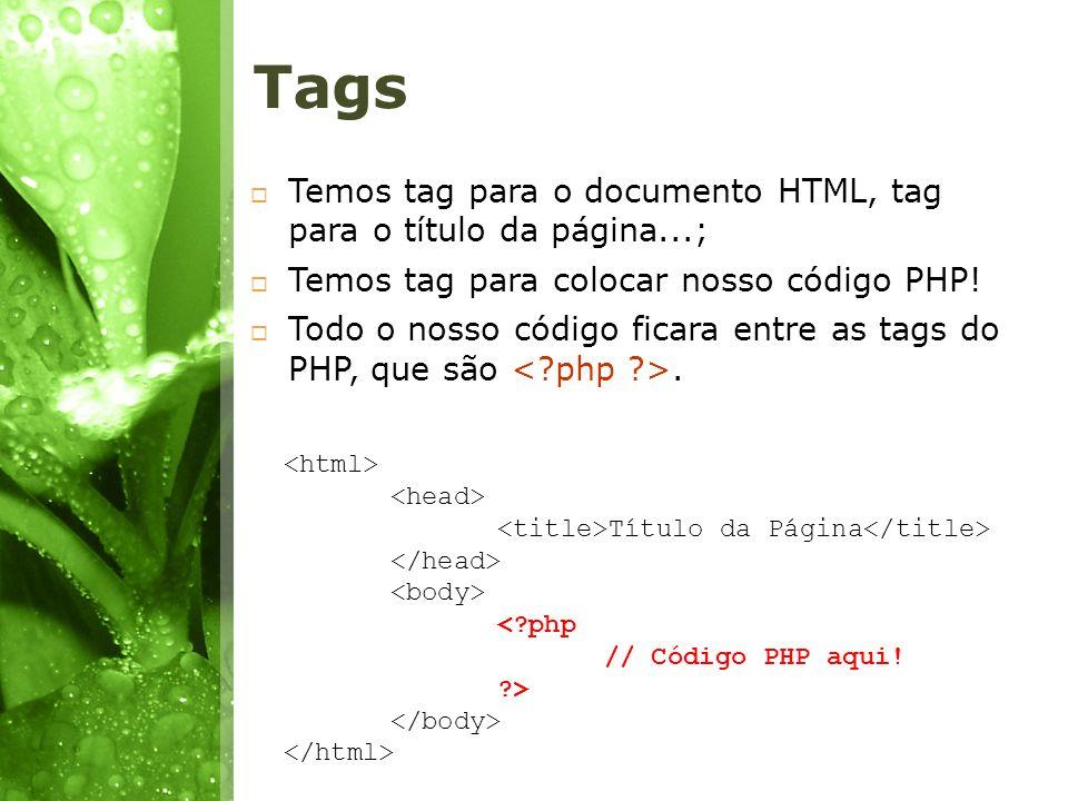 Tags Temos tag para o documento HTML, tag para o título da página...;
