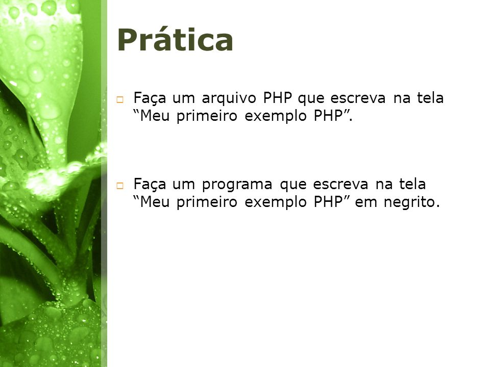 Prática Faça um arquivo PHP que escreva na tela Meu primeiro exemplo PHP .