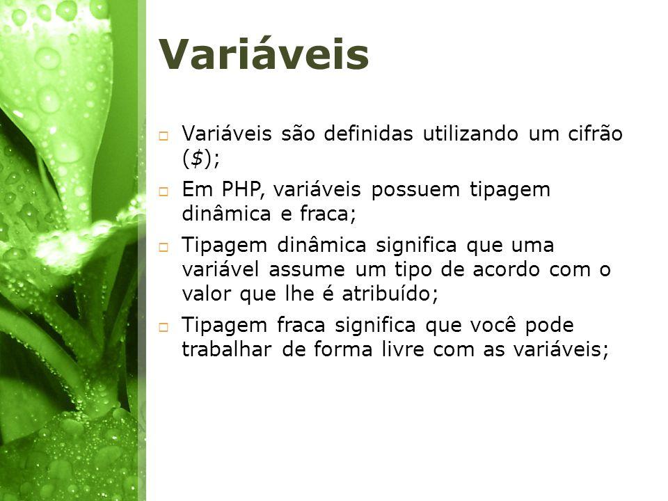 Variáveis Variáveis são definidas utilizando um cifrão ($);