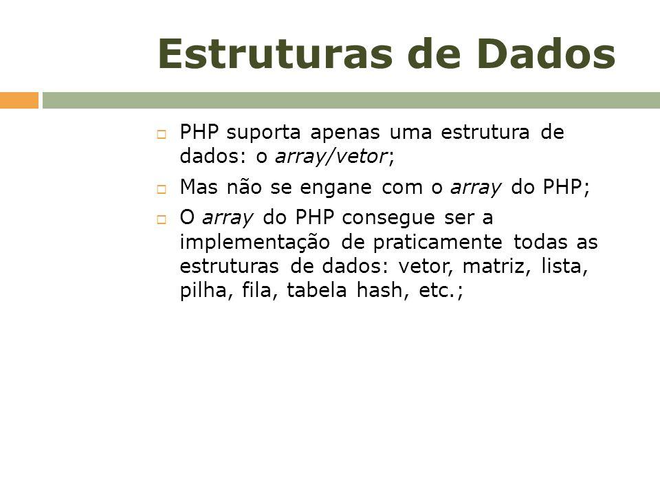 Estruturas de Dados PHP suporta apenas uma estrutura de dados: o array/vetor; Mas não se engane com o array do PHP;