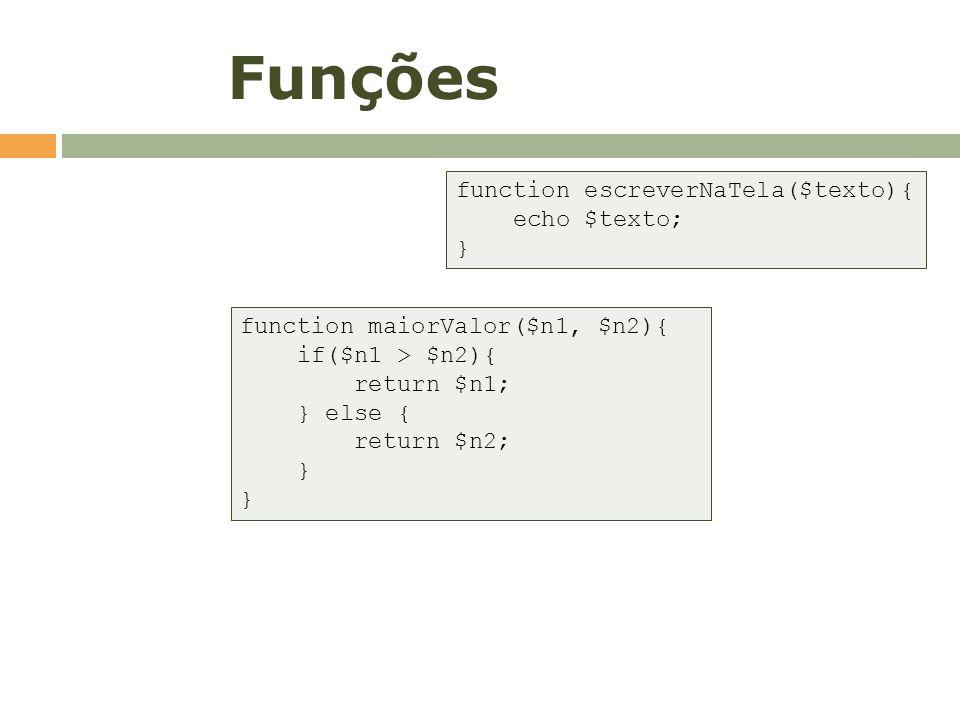 Funções function escreverNaTela($texto){ echo $texto; }